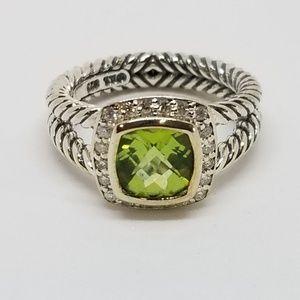 David Yurman Petite Albion Ring with Peridot and D